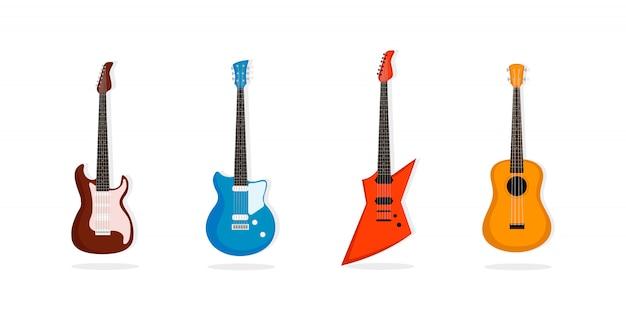 Zestaw gitarowy. muzyczne instrumenty smyczkowe.