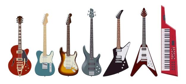 Zestaw gitarowy. realistyczne gitary elektryczne na białym tle. instrumenty muzyczne. ilustracja. kolekcja