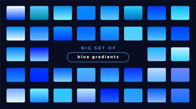 Zestaw gładkich niebieskich gradientów