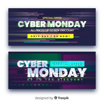 Zestaw glitch cyber poniedziałki banery