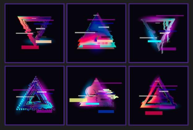 Zestaw glitched triangle frame design.