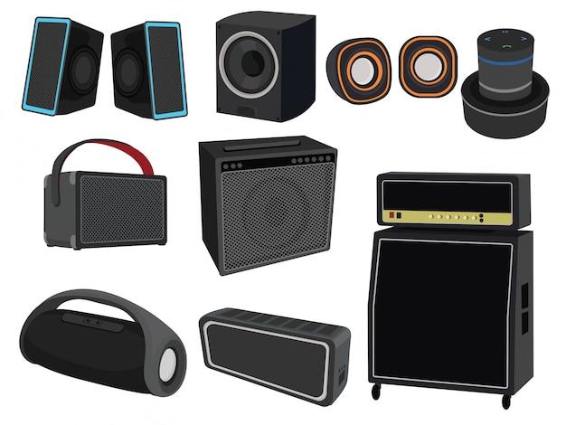 Zestaw głośników do słuchania muzyki. kolekcja urządzeń do wzmacniania dźwięku.