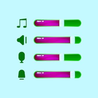 Zestaw głośności gui, muzyki, ikony mikrofonu z paskiem elementów zasobów interfejsu gry