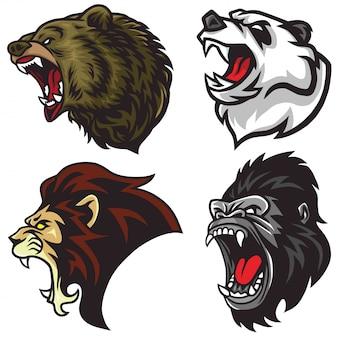 Zestaw głów dzikich zwierząt. lew, niedźwiedź, goryl, panda, logo maskotki