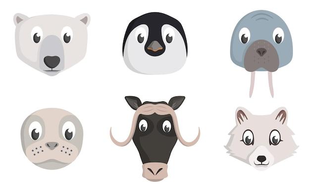 Zestaw głów zwierząt arktycznych. mieszkańcy dzikiej przyrody w stylu kreskówki.