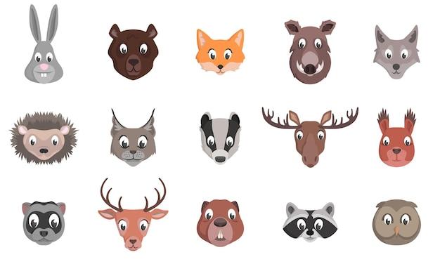Zestaw głów zwierząt leśnych. postacie w stylu kreskówek.