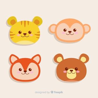 Zestaw głów zwierząt: tygrys, niedźwiedź, lis, małpa. projekt płaski