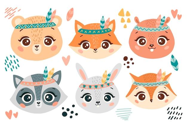 Zestaw głowic płaskich zwierząt boho w stylu doodle. twarze zwierząt leśnych boho. niedźwiedź, lis, bóbr, szop, królik, sowa.