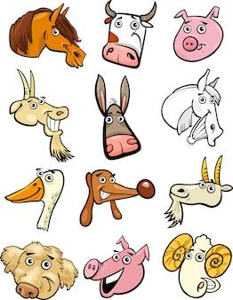 Zestaw głowic zwierząt gospodarskich kreskówka