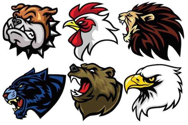 Zestaw głowy dzikich zwierząt. projekt awatara logo maskotki esport