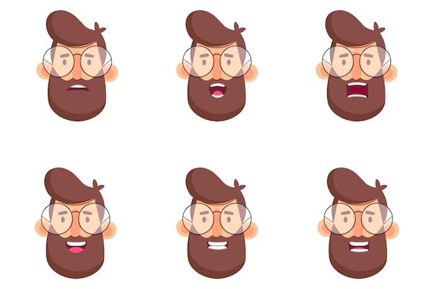 Zestaw głowy hipster brodaty mężczyzna