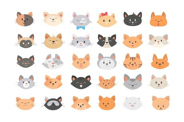 Zestaw głowy kota. kolekcja uroczych i zabawnych zwierząt