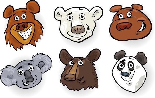 Zestaw głowy kreskówka niedźwiedzi