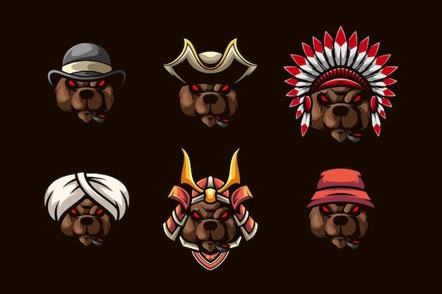 Zestaw głowy niedźwiedzie design