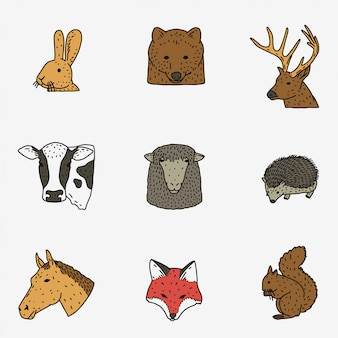 Zestaw głowy zwierząt