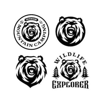Zestaw godła logo niedźwiedzia. wyprawa przygodowa na świeżym powietrzu, głowa niedźwiedzia i las.