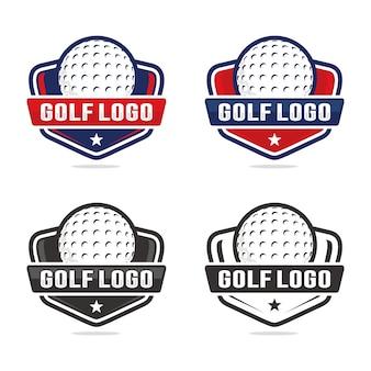 Zestaw Golfowy Logo Szablon Premium Wektorów
