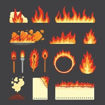 Zestaw gorących płonących elementów. wektor zbiory ikon płomienia ognia w stylu cartoon. płomienie o różnych kształtach, pożar lasu, płonąca kartka papieru i płonące symbole.