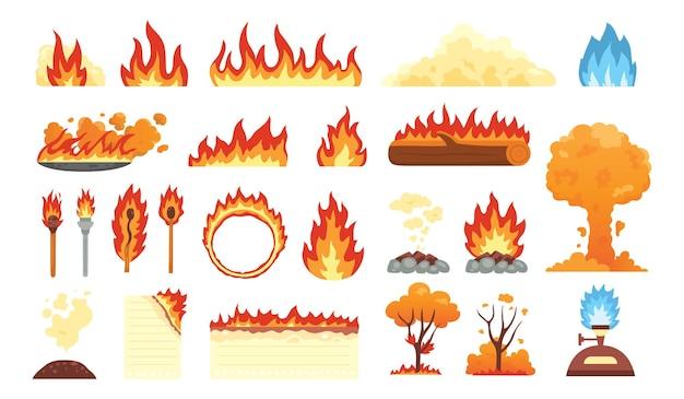 Zestaw gorących płonących elementów. zbiór ikon płomienia ognia w stylu cartoon.