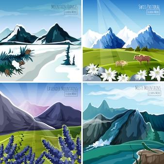 Zestaw górskich krajobrazów