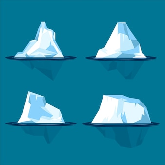 Zestaw góry lodowej ilustracja płaska konstrukcja