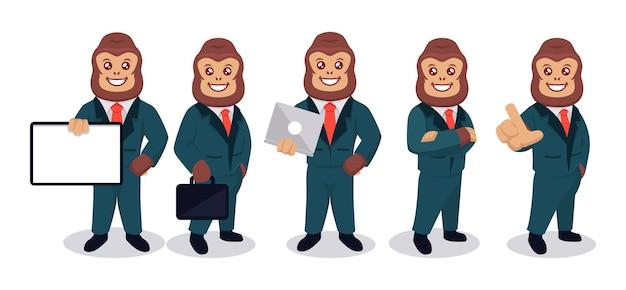 Zestaw goryla z garniturem biznesmena i różnymi ilustracjami projektu maskotki poza