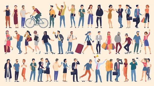 Zestaw gotowych do animacji postaci osób wykonujących różne czynności grupa mężczyzn i kobiet w stylu płaskiej konstrukcji postaci z kreskówek na białym tle postaci z kreskówek na białym tle