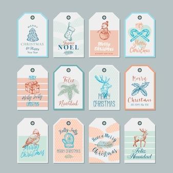 Zestaw gotowych do użycia świątecznych i noworocznych tagów prezentowych lub szablonów etykiet.