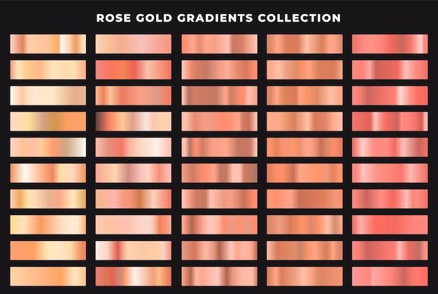 Zestaw gradientów różowego złota na czarnym tle
