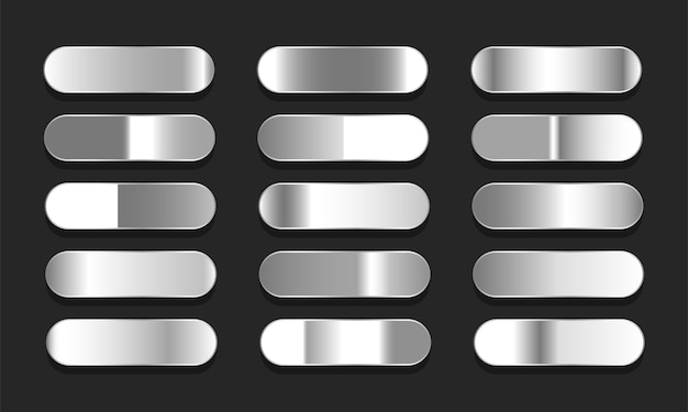 Zestaw gradientów w kolorze srebrnym lub platynowym. duży zbiór ilustracji gradienty efekt metalu