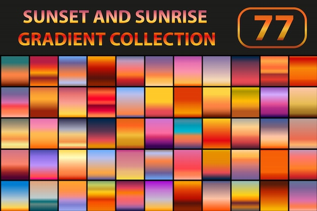 Zestaw gradientów zachodu i wschodu słońca. duzi inkasowi abstrakcjonistyczni tła z niebem. ilustracja.