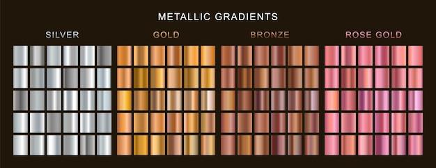 Zestaw gradientów złota, srebra, brązu i różowego złota.