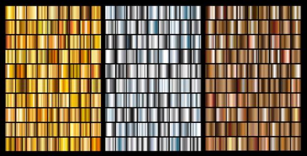 Zestaw gradientów złota, srebra i brązu