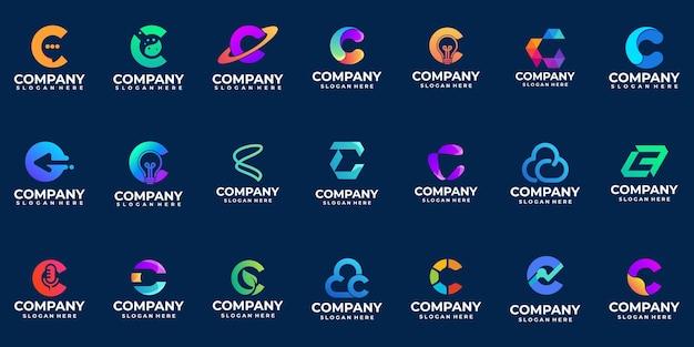 Zestaw gradientowego logo litery c inspiracji do projektowania logo