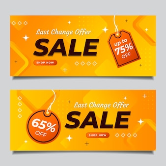 Zestaw gradientowych abstrakcyjnych banerów sprzedaży