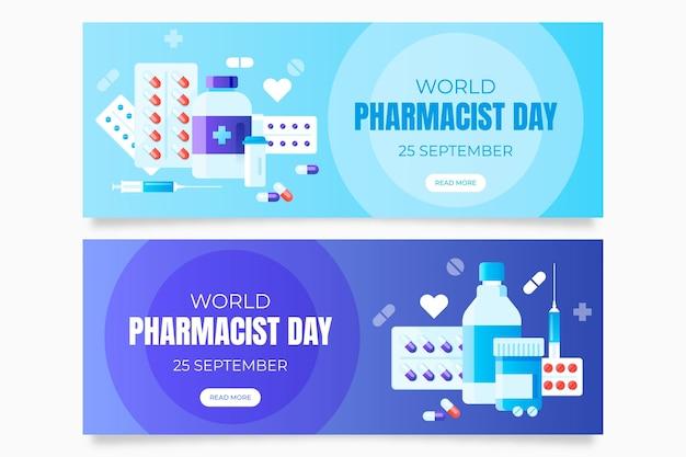 Zestaw gradientowych banerów dnia farmaceuty