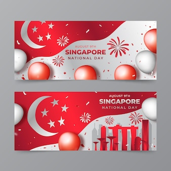 Zestaw Gradientowych Banerów Narodowych W Singapurze Darmowych Wektorów