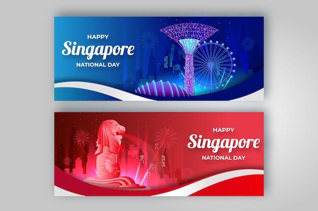 Zestaw gradientowych banerów narodowych w singapurze