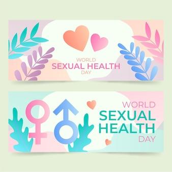 Zestaw gradientowych banerów światowego dnia zdrowia seksualnego