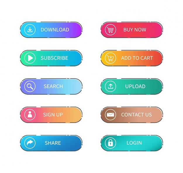 Zestaw gradientowych kolorowych płaskich przycisków internetowych.