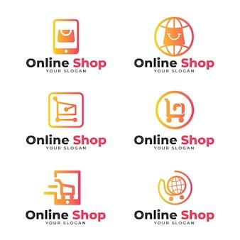 Zestaw gradientowych logo e-commerce
