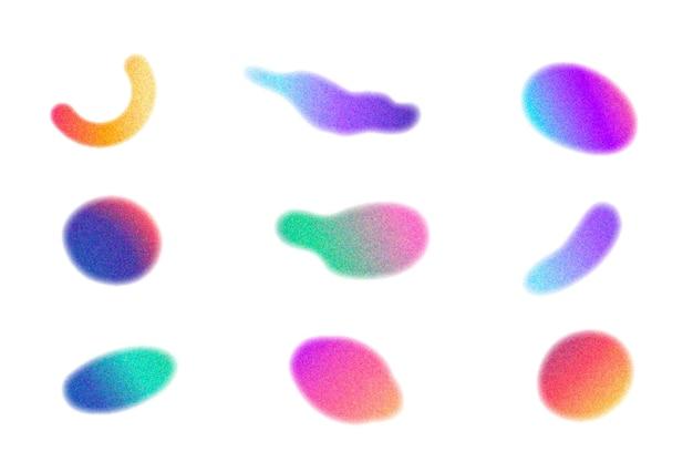 Zestaw gradientowych ziarnistych kształtów gradientowych