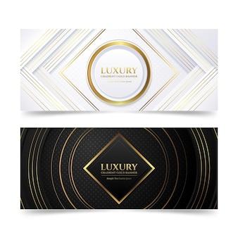 Zestaw gradientowych złotych luksusowych banerów