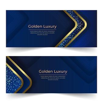 Zestaw gradientowych złotych luksusowych poziomych banerów