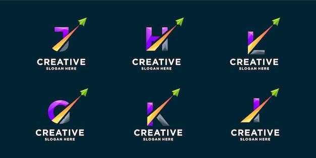 Zestaw gradientu litery i projektowanie logo strzałki. kreatywne logo monogram