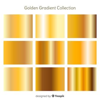 Zestaw gradientu metaliczny złota tekstury