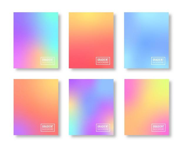 Zestaw gradientu szablonu miękki kolor tła projektu
