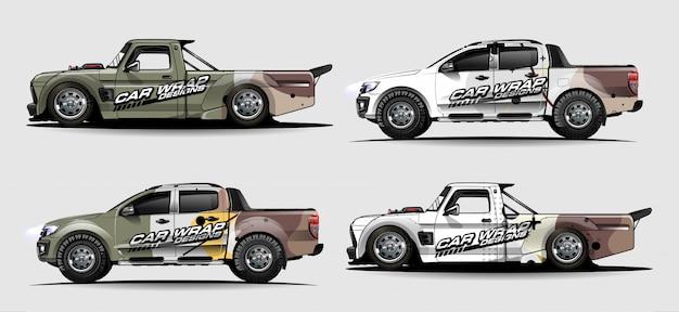 Zestaw graficzny pojazdu. abstrakcyjne linie z łukowatym tłem dla opakowania winylowego samochodu wyścigowego, furgonetki i pickupa