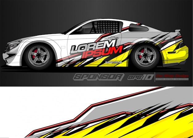 Zestaw graficzny pojazdu. nowoczesne abstrakcyjne tło dla brandingu okładów samochodowych i barwienia naklejek samochodowych