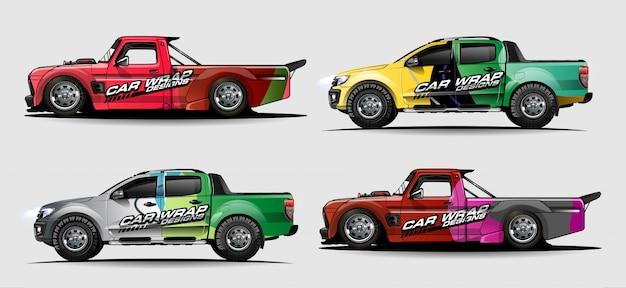 Zestaw graficzny pojazdu. streszczenie zakrzywione tło dla projektowania naklejek samochodów wyścigowych, van i ciężarówek